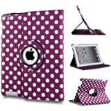 360 ROTATING FLIP LEATHER CASE COVER FOR THE NEW IPAD MINI (Purple Polka)