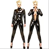 Sexy Black Catsuit PVC Adult Ladies Lycra Catwoman Outfit M UK 12 Black