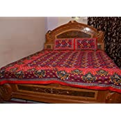 M.G.R Leaves Print Cotton Double Bedsheet With 2 Pillow Covers - Red