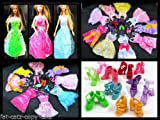 Toy - Cute 15 Items = 5 Pcs Fashion Handmade Dresses 5 Shoes 5 hangers For Barbie Doll