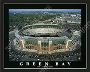 Green Bay Packers New Lambeau Field Aerial View Large Stadium Poster-Framed by Art and More, Davenport, IA