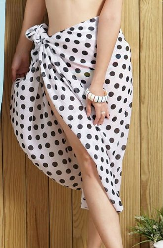 Tamari White Polka Dot Sarong Beach Cover Up Wrap Dress For Women One Size