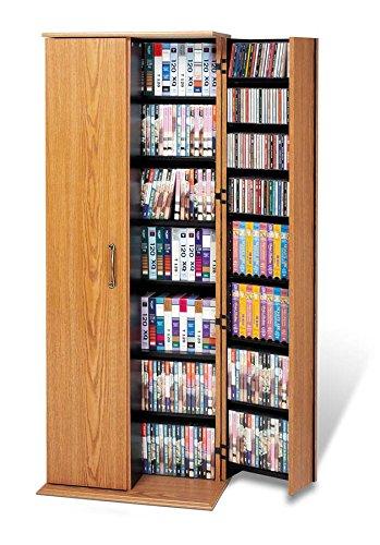 Prepac Oak & Black Grande Locking Media Storage Cabinet