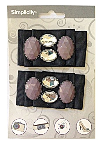 Simplicity 2 Pack Ribbon with Gemstones Headband Garment Brooch Accent Black