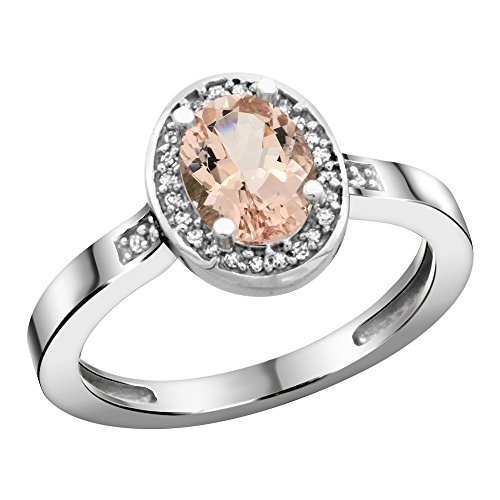 Sterling Silver Diamond Natural Morganite Ring Oval 7X5Mm, 1/2 Inch Wide, Size 5.5