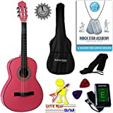 Acoustic Guitar Package 3/4 Sized (36' inch) Classical Nylon String Childs Guitar Pack Pink