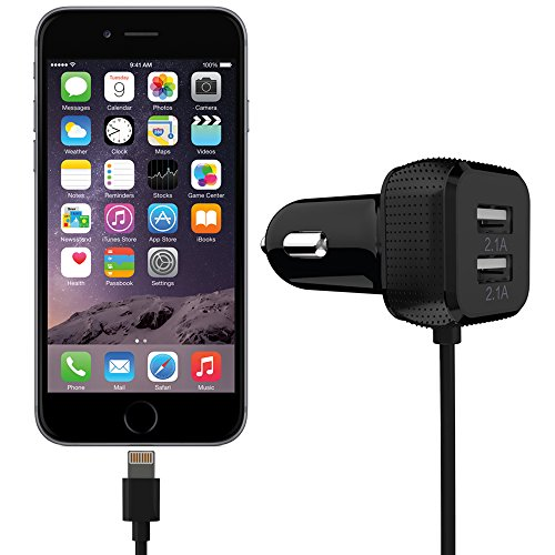 Cargador Coche - FosPower alta Calidad (6.6A/33W) 2 puerto USB con [Apple MFI Certified] cable lighning 8 pines para Apple...