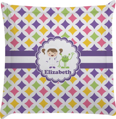 Girls Astronaut Personalized Euro Sham Pillow Case front-980305