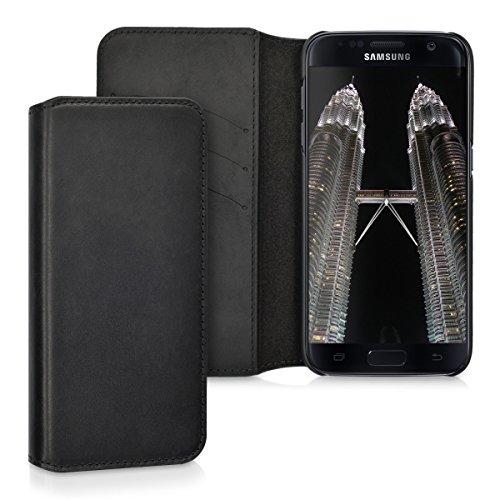 kalibri-Echtleder-Tasche-Hlle-fr-Samsung-Galaxy-S7-Case-mit-Fchern-und-Stnder-in-Schwarz
