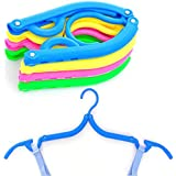 iSuperb Pack of 6 Clothes Hangers Folding Portable Plastic Travel Clothes Hanger with Anti-slip Grooves 6PCS Colorful