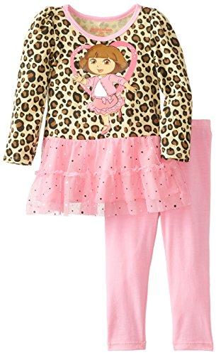 Nickelodeon Little Girls' Dora 2 Piece Print Long Sleeve Legging Set, Brown, 3T front-1028603