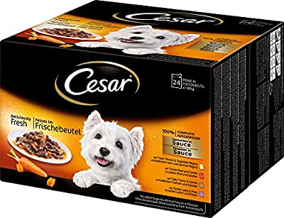 Cesar Dog Food Deliciously Fresh Pouches Favourites in Sauce 24x100g pack (Pack of 2, total 48 pouches)