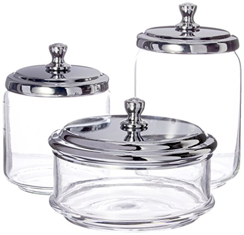 mDesign Bathroom Vanity Glass Apothecary Jars for Cotton Balls, Swabs, Cosmetic Pads - 3pc Set, Clear/Chrome