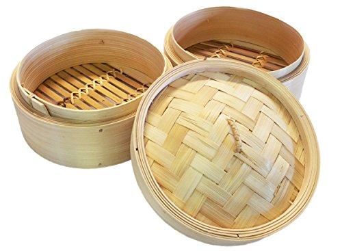 20 cm cuiseur vapeur en bambou 20 cm - 2 couches et 1 couvercle