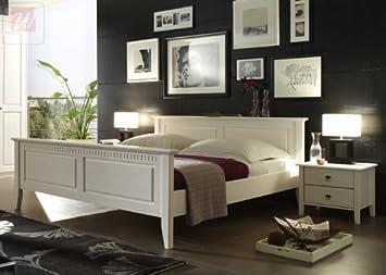 Bett 200 x 200 cm mit Nako-Set Kiefer massiv weiss lasiert Woody 25-00030