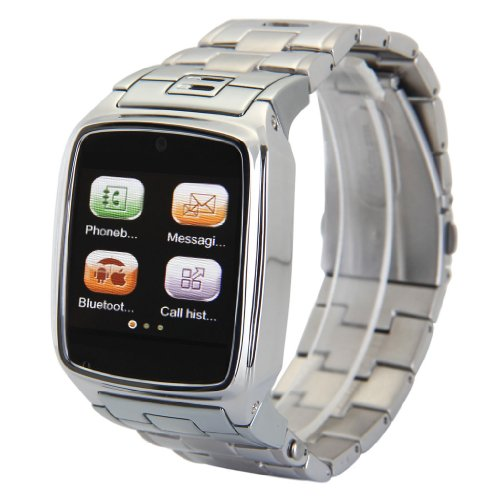 Excelvan Silver Stainless Steel TW810+ Bluetooth Smart Watch Unlocked SIM Phone Watch Touch Screen Camera Smartwatch for IOS (Part Function) Android OS Smartphone