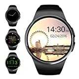 Bluetooth Smart Watch,Evershop 1.3 inches IPS Round Touch Screen Water Resistant Smartwatch Phone with SIM Card Slot,Sleep Monitor,Heart Rate Monitor and Pedometer for IOS and Android Device (Black)