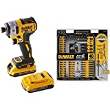 DEWALT DCF888D2 20V Max XR Brushless Tool Connect Impact Driver Kit, with (2) 2Ah XR Brushless Batteries with DEWALT DWA2T40IR IMPACT READY FlexTorq Screw Driving Set, 40-Piece