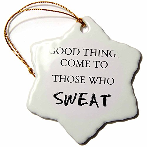 3dRose orn_180020_1 Good Things Come to Those Who Sweat Snowflake Ornament, Porcelain, 3-Inch