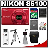 Nikon Coolpix S6100 16.0 MP Digital Camera (Red) with 16GB Card + Battery + Case + Tripod + Accessory Kit