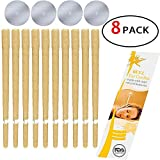 M.G Inc 8 Pcs 100% Natural Odorless Hollow Beeswax Ear Candles Phototherapy Earrings Candling Cone Wax Removal Kit Health Care