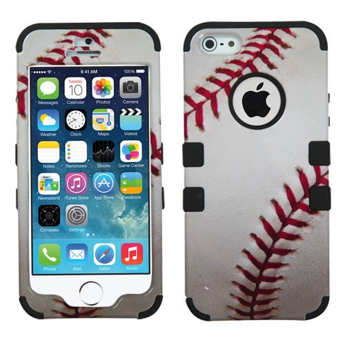 myLife (TM) Black  Baseball Print Series (Neo Hypergrip Flex Gel) 3 Piece Case for iPhone 5/5S (5G) 5th Generation iTouch Smartphone by Apple (External 2 Piece Fitted On Hard Rubberized Plates   Internal Soft Silicone Easy Grip Bumper Gel   Lifetime Warra Picture