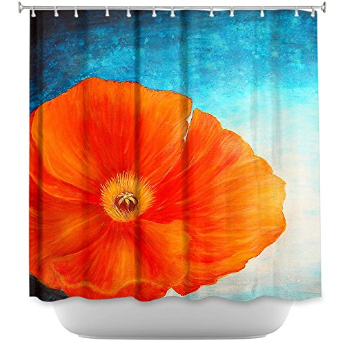 DiaNoche Designs Shower Curtains by ArtistTara Viswanathan Pavithia Unique, Cool, Fun, Funky, Stylish, Decorative Home Decor and Bathroom Ideas - Poppy