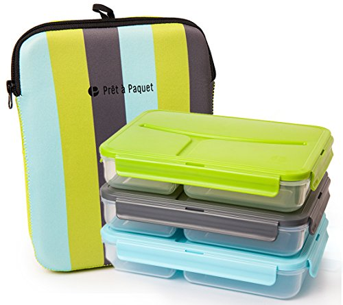 Set of 3 Lunch Boxes (Blue- Gray- Green)-Leak-Proof & Thermo-Sleeve! Easy to Clean & Dry! Perfect Size for your meals! For Adults and Kids! Recommended for healthier meals! (Fridge And Freezer Sleeve compare prices)