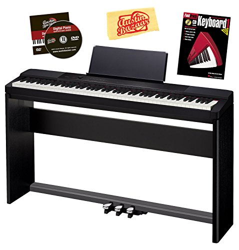 Casio Privia Px-150 88-Key Digital Piano Bundle With Casio Cs-67 Furniture-Style Stand, Casio Sp-33 3-Pedal System, Hal Leonard Instructional Book, And Austin Bazaar Polishing Cloth - Black