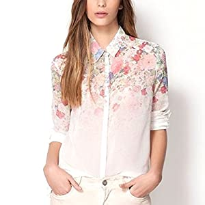 Femme Modish Flower Printed Chiffion Manches longues Blouse Shirt Tops