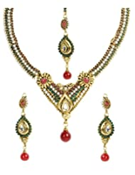Shining Diva Designer Stone Studded Necklace Set With Maang-Tika For Women