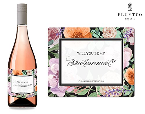 Will You Be My? - Set of 8 Vintage Floral Wedding Wine Bottle & Gift Box Labels - Bridesmaid & Maid of Honor Proposal Gift - Engagement Party - Bridal Shower
