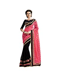 Resham Fabrics Beautiful Georgette Pink And Black Saree With Blouse Peice