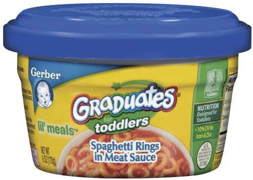 Baby / Child Gerber Graduates For Toddlers Lil' Meals 6-Oz Tubs (Pk Of 12) - Spaghetti Rings In Meat Sauce Infant
