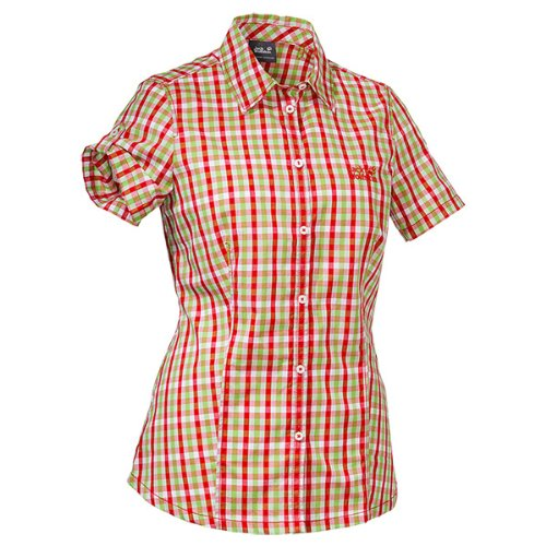 Jack Wolfskin Damen Bluse River Shirt Women, Red Fire Checks, XXL, 1400991-7849006