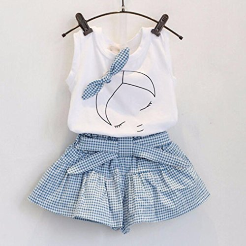 Kids Girls Cute Bow Girl Pattern Shirt Top Grid Shorts Set Clothing