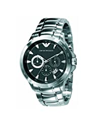 Emporio Armani Men's AR0636 Chronograph Black Dial Stainless Steel Watch