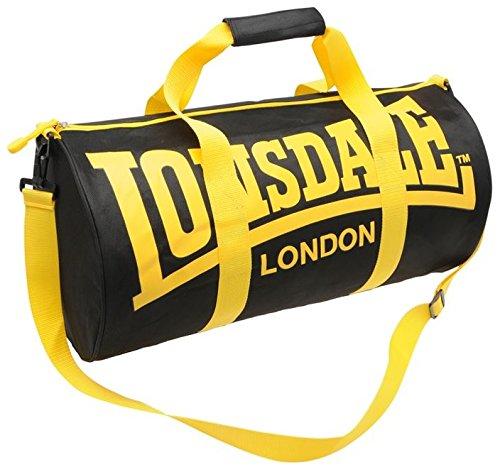 Lonsdale-Borsa sportiva, colore: nero/giallo, 26 X 52 X 26 cm