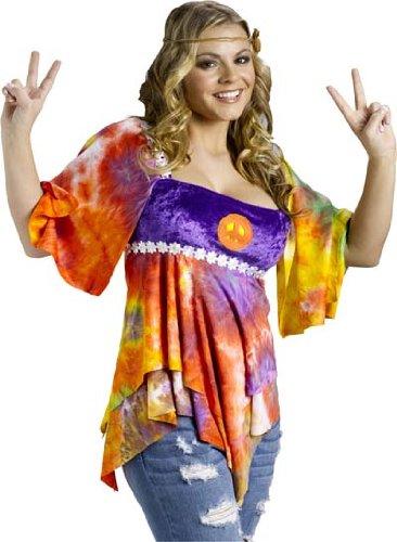 Hippie Girl Halloween Costume.Fun World Sexy Womens 60s 70s Hippie Girl Halloween Costume Shirt