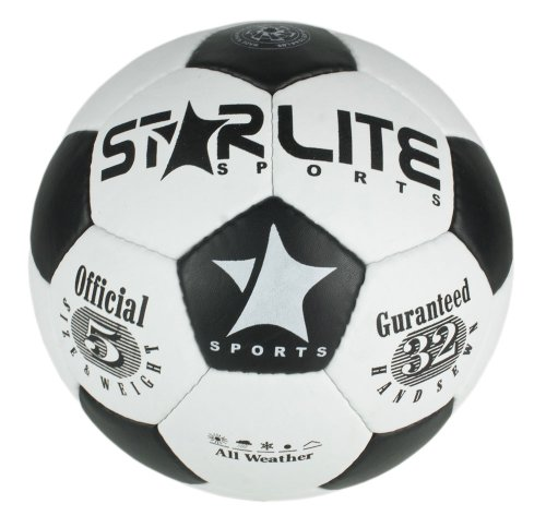 Leather Training & Match Football-Soccer Ball Black-White 70cm, 420oz-Size 5