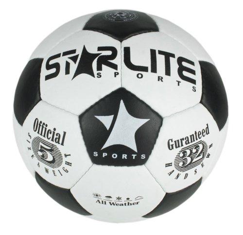Leather Training & Match Football-Soccer Ball Black-White 70cm, 420oz-Size 5