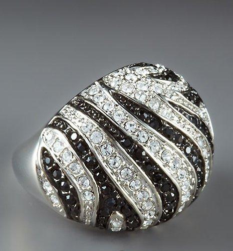 ABS by Allen Schwartz Crystal Pave Zebra Ring (7, Silver/Crystal)