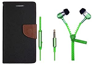 Novo Style Wallet Case Cover For HTC Desire 620 Black + Zipper Earphones/Hands free With Mic 3.5mm jack