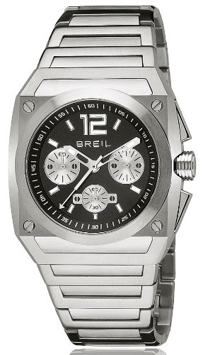Breil Men's Watch Analogue Quartz TW0689 Silver Stainless Steel Strap Black Dial