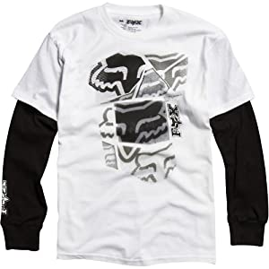 Fox Racing Spliced Up 2Fer Youth Boys Long-Sleeve Fashion Tee Shirt - White/Black / Medium