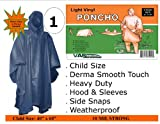 1 VAS Derma Smooth Childrens Heavy Duty 40 X 60 Emergency Child / Kid Rain Poncho - 10 Mil Strong Forest Green with Hood, Sleeves & Side Snaps