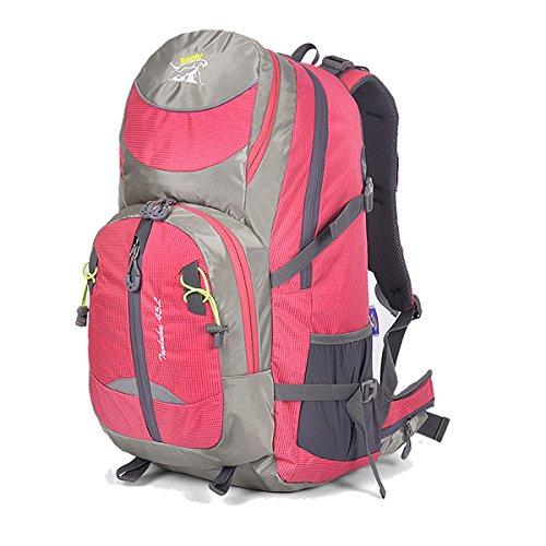 Zerd 45L Unisex Waterproof Outdoor Camping Travel Backpack Outdoor Hiking Daypacks Climbing Cycling Bag Waterproof Mountaineering Rose Red