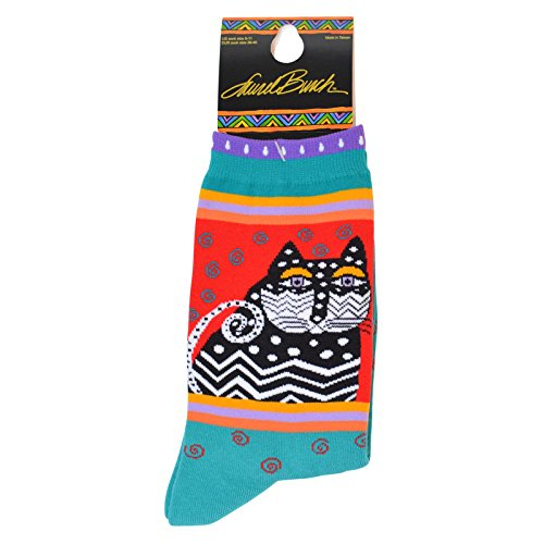 laurel-burch-socks-polka-dot-cats-turquoise