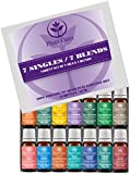 Premium Essential Oil Variety Sampler Set 14 Pack - 7 Singles & 7 Blends - 100% Pure Therapeutic Grade 10 ml. Set Includes 14/10 ml. Bottles
