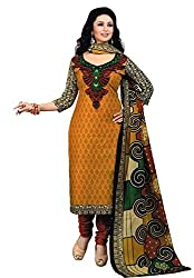 Awesome Fab Orange Colour Mix Cotton Printed Unstitched Dress Material